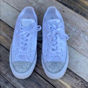 Converse | White Lace Up Sneakers Silver Glitter 8